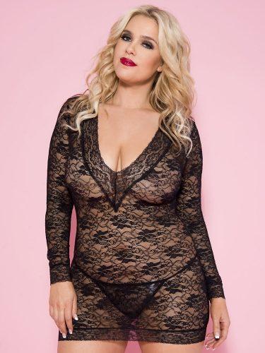 See-through black mini lace dress