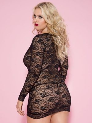 See-through black mini lace dress body stocking