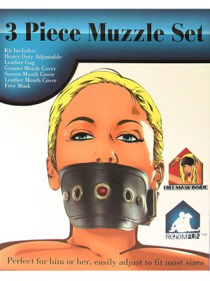 Black bondage muzzle gag for fetish play