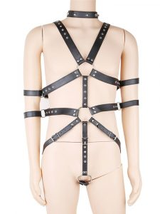 Black male fetish wear body harness with cock ring