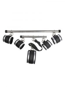 Bondage fetish spreader bar set for arms and legs