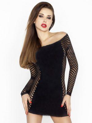 Black Short fishnet sexy stretch dress body stocking