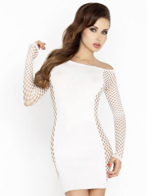 White mini dress with fishnet sleeves