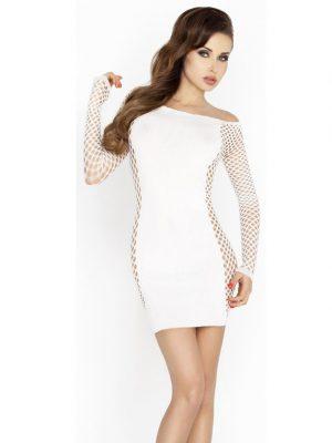 White fish net sleeves sexy mini dress strapless