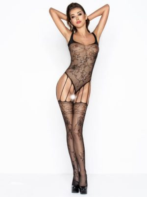 Black Sus Sexy Net Bodystocking with Garter Detail crotchless
