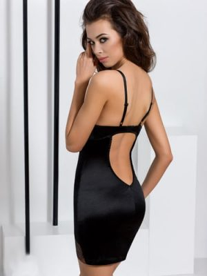 Black Satin and Lace Chemise Sexy Dress back