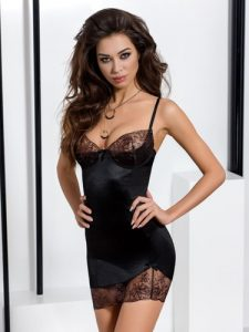 Black Satin and Lace Chemise Sexy Dress