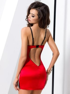 Sexy red and black lace long chemise dress back