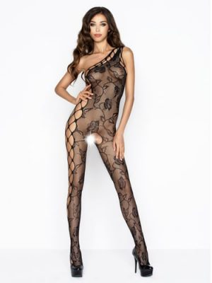Black full length one shoulder body stocking sexy black lace