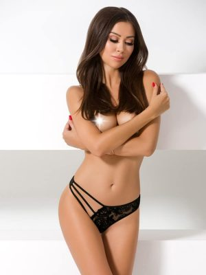 black lace one sided sexy thong for women