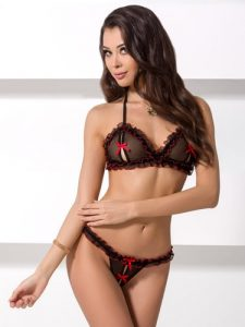 Sexy peep hole bra and thong set black and red
