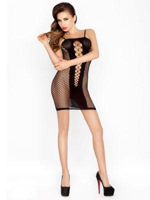 Sexy Black mini dress with fishnet detail
