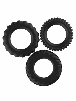 Set of three textured black cock rings for penis sex toys