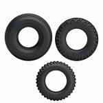 Set of three black cock rings different sizes and textures sex toys