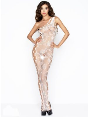White rose print fishnet one shoulder body stocking front