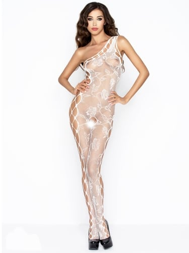 white-one-shoulder-net-lace-rose-pattern-body-stocking-front