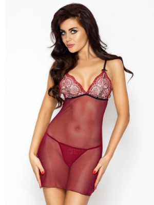 Wine red Whitney sexy long sheer chemise with lace cup detail
