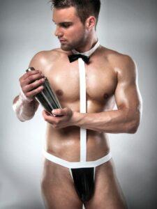 Black and white waiter set body male stripper set