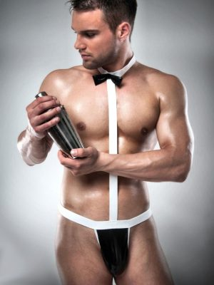 Black and white waiter set body male stripper set