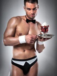 Black and white male stripper set with briefs and collar
