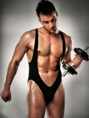sexy black male stripper y front black body suit