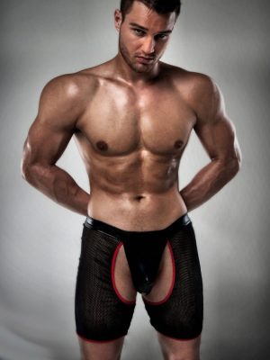 Black and Red mens cut-out sexy stripper shorts