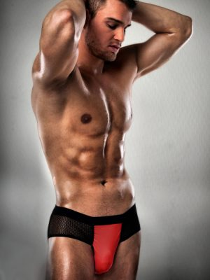 Men's sexy stripper pant thong red and black pouch underwear brief