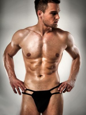 mens black sexy pouch thong strappy