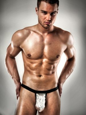 mens stripper black and silver back bumless thong