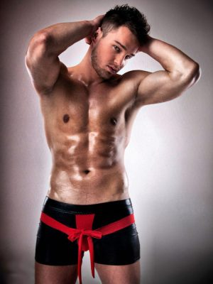 Men's wet look black boxer shorts with red bow
