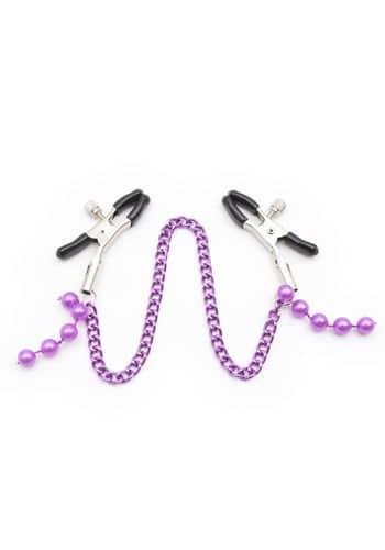 Nipple Clamps Sex Purple Beaded Chain