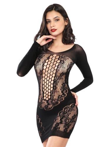 Floral black pannel cut out dress