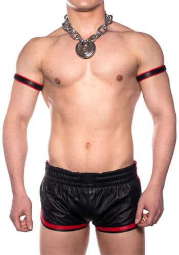 Prowler Leather Red Sport Shorts front