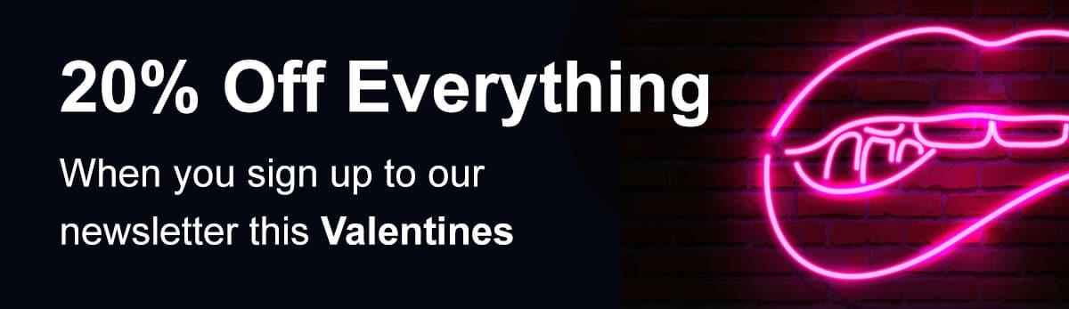 Valentines 20 off banner