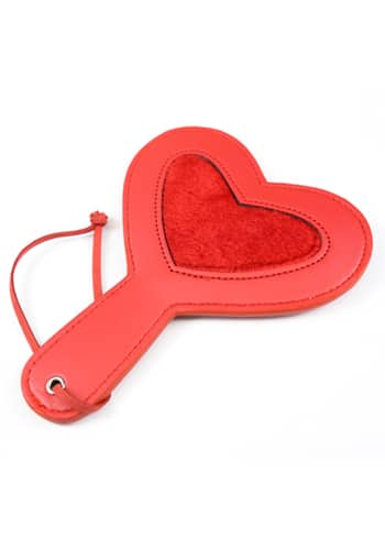 Red pleather paddle heart fur