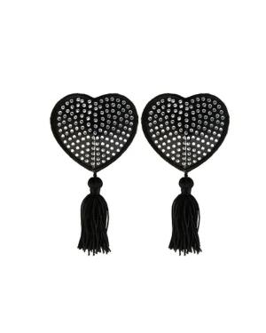 Black heart nipple tassels with gems