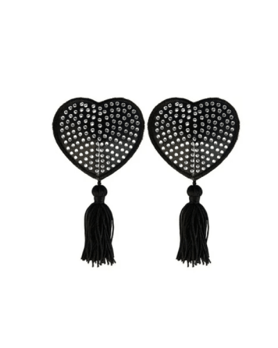 Black heart nipple tassels with diamonds_