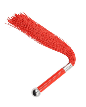 Red Silicone Flogger with Metal Handle