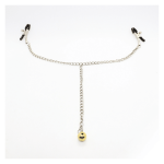 Silver nipple chain clamp with gold bell