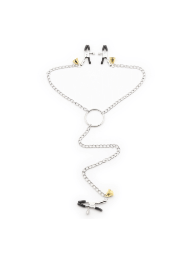 Nipple and clit chain with gold bells