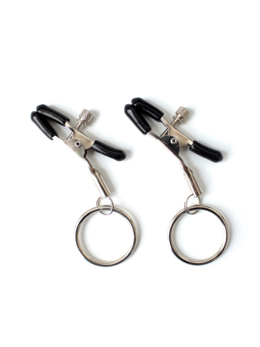 Nipple clamp with silver hoop