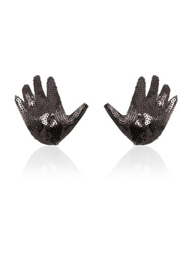 black sequin hand nipple covers