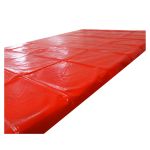 black and red plastic bed sheet