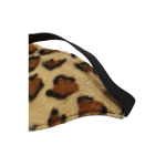 Leopard print eye mask black leather