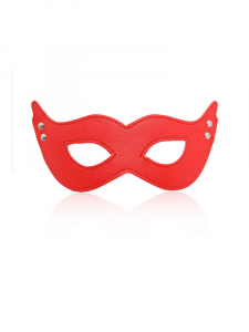 red eye mask - studded mask - stud mask - red mask - leather mask - Devil eye mask
