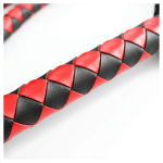 red and black long flogger