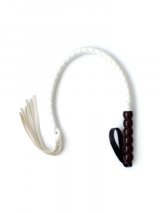 white leather whip - white flogger - leather whip - leather flogger - wood handle