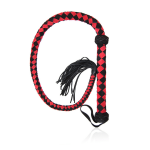 leather flogger black and red