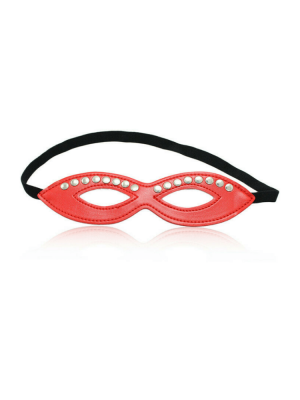 16 stud eye mask - red eye mask - leather eye mask - fetish eye mask