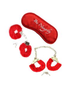 red bondage kit - re eye mask - red cuffs